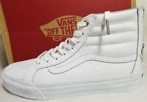 faa01d6da4 New Vans Sk8 Hi Slim Zip Hologram True White Leather Skate Shoe ...