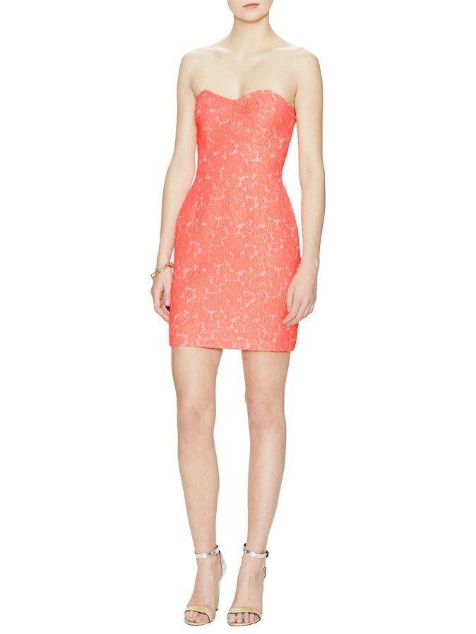 NWT Anthropologie Alex & Alex Jacquard Sweetheart Strapless Coral Dress Sz 4