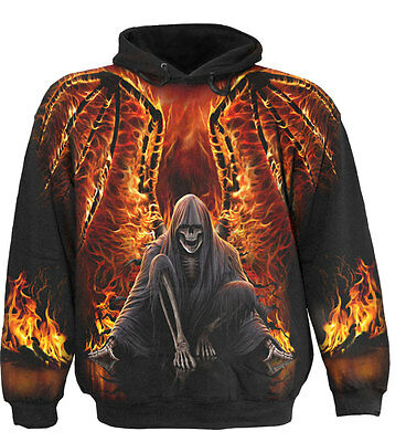 Spiral Direct FLAMING DEATH Hooded,Skeleton/Skulls/Biker/Fire/dark/Pullover/Hood