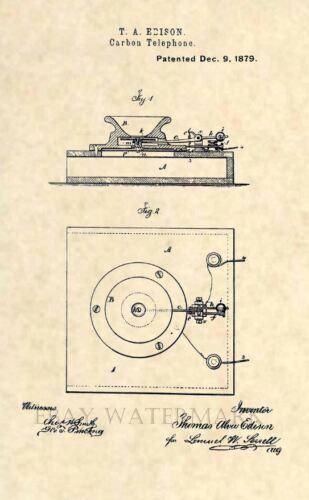 Vintage Antique 153 Official Thomas Edison Carbon Telephone US Patent Art Print