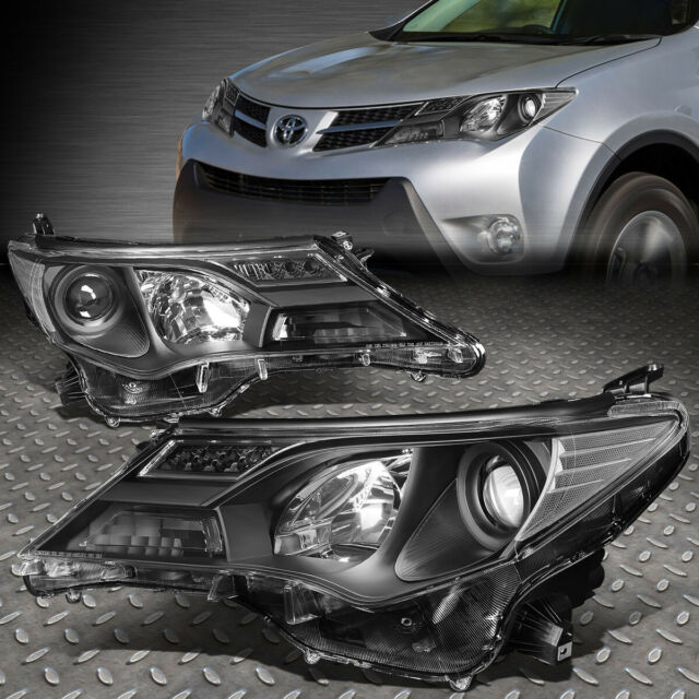 FOR 2013-2015 TOYOTA RAV4 PAIR SMOKED HOUSING CLEAR CORNER PROJECTOR HEADLIGHT