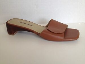Naturalizer-Shoes-Womens-Size-8-M-Brown-Open-Toe-Heels-Slip-On-8M