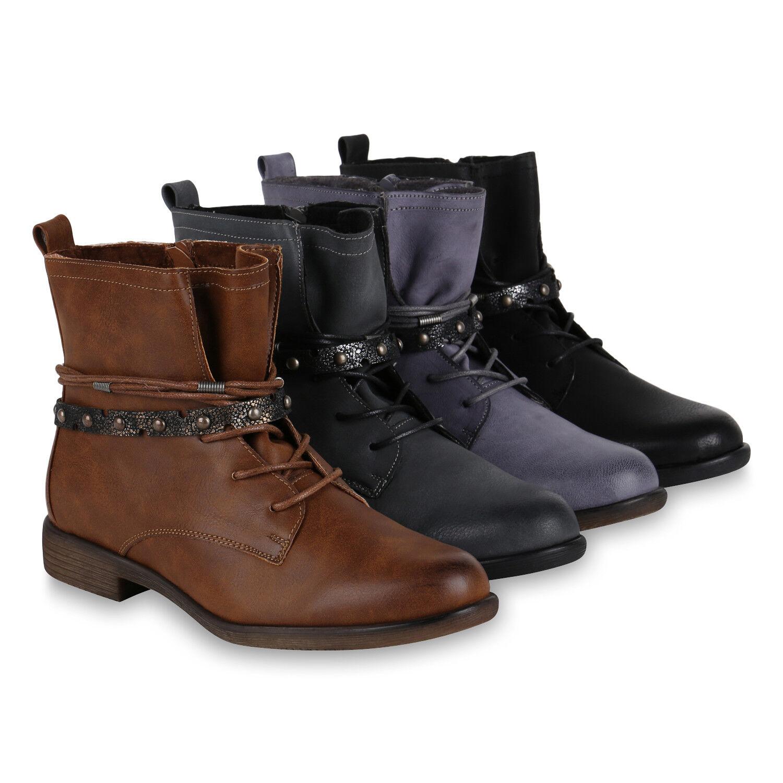 Damen Schnürstiefele<wbr/>tten Leicht Gefütterte Stiefeletten Metallic 818854 Schuhe