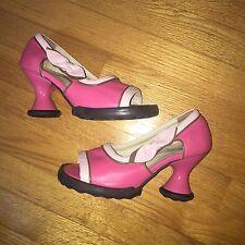 JOHN FLUEVOG Mini Pink Leather Peep Toe Pumps, Wm's 6