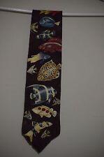 Marc Dennis Tropical Fish Men's Endangered Species Burgundy Novelty Necktie Silk
