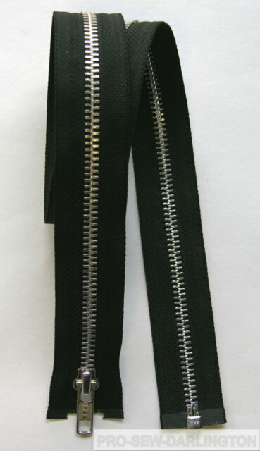 YKK METAL TEETH OPEN ENDED ZIP ( CHOICE OF LENGTH & COLOUR )