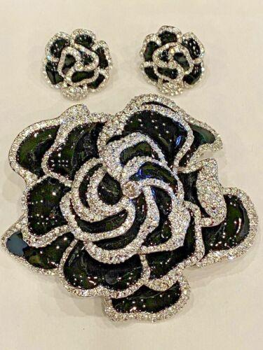 Vintage Joan Rivers Black Enamel and Crystal Garde