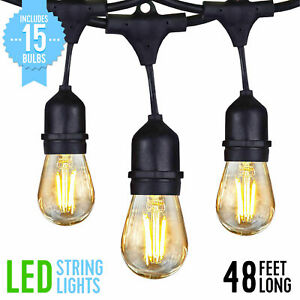 Details About 48ft Led Outdoor Waterproof Commercial Patio String Lights 15x Vintage S14 Bulbs