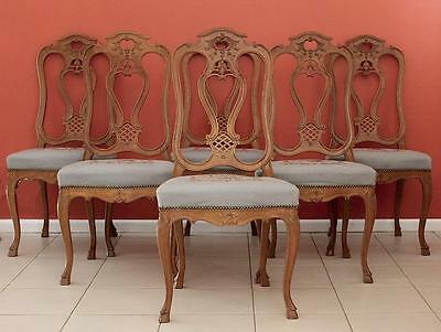 Antique Vintage French Louis XV Dining Kitchen Chairs in Oak,  Set of 6