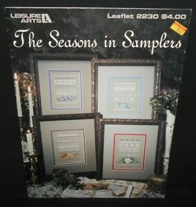 Leisure-Arts-THE-SEASONS-IN-SAMPLERS-Color-Cross-Stitch-Chart-Patterns-Leaflet