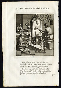 Antique-Profession-Print-WOOL-CARDER-St-Clara-1758