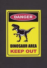 """METAL WALL PLAQUE / SIGN RETRO STYLE DINOSAUR AREA KEEP OUT #2 YELLOW 8"""" X 6"""""""