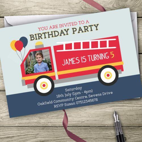Fire Engine Photo Invitations Personalised Birthday Party Invites
