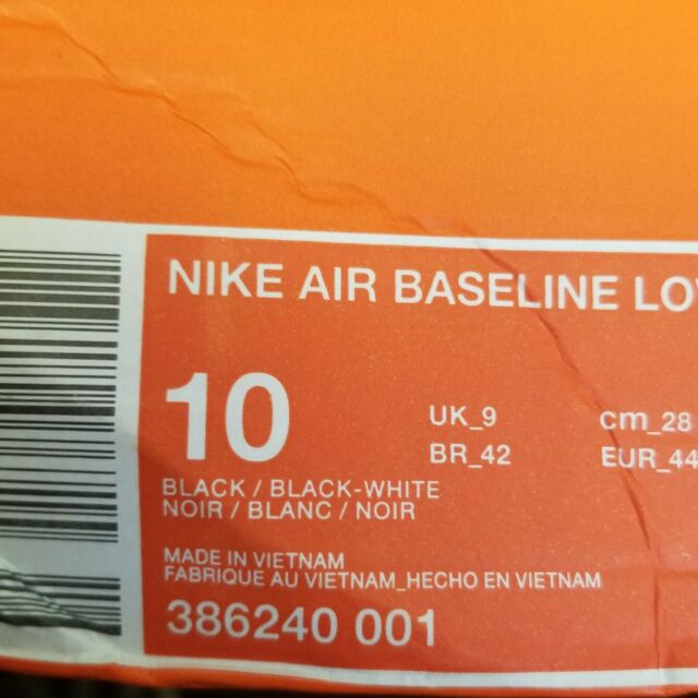 2b6b089548b7 Nike Air Baseline Low Mens Basketball Shoes Black 386240-001 SIZE 10 NIB