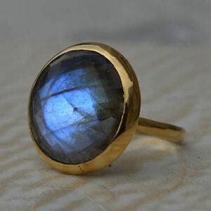 Round-Fire-Faceted-Labradorite-Gemstone-14K-Yellow-Gold-Wedding-Gift-Ring-Size-7