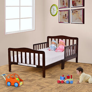 Baby Toddler Bed Kids Children Wood Bedroom Furniture W Safety Rails Espresso Ebay