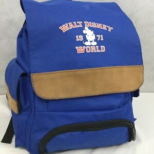 Walt-Disney-World-Mickey-Mouse-Blue-Backpack-Suede-Trim-Classic-Drawstring