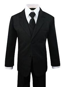 Boys-Formal-Black-Suit-5-Pieces-Set-Toddler-Size-2T-to-14