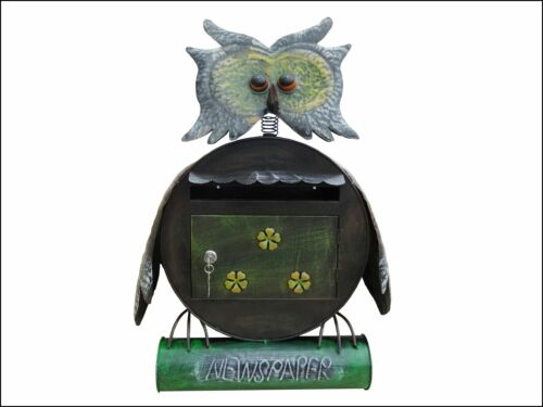 Owl Wall Mounted Lockable Mailbox Letter Post box Newspaper Holder