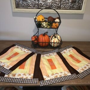 Vtg-Handmade-Patchwork-Quilted-Placemats-Set-of-4-Yellow-Orange-Gingham-Country