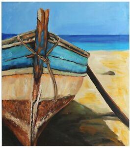 bateau-tableau-peinture-huile-sur-toile-painting-on-canvas-boat