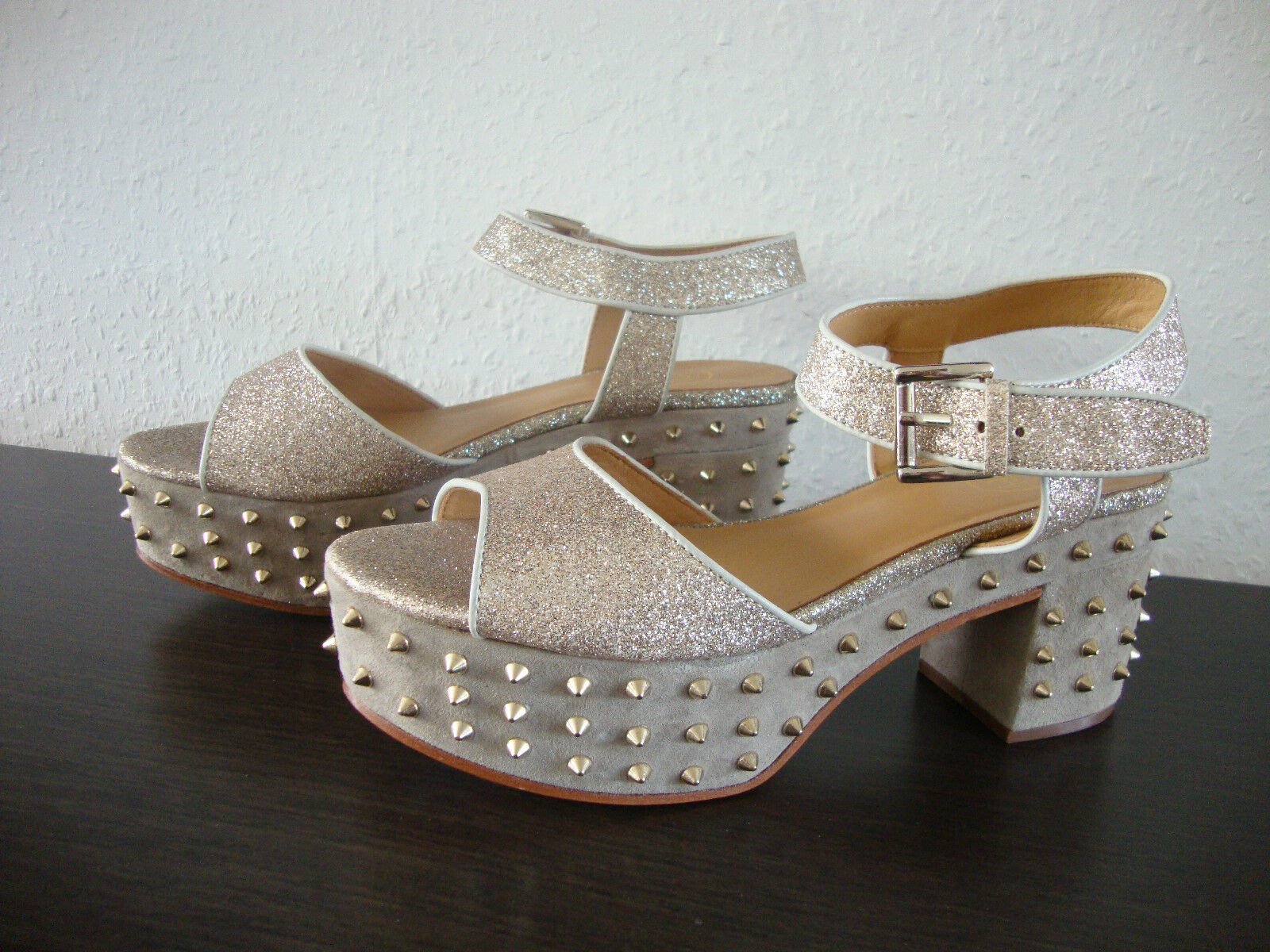 Ash CAPRICE Sandal Leather shoes Womens Sandals Sandals Glitter gold Size 37 NEW