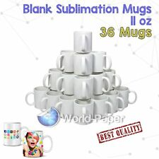 Case of 36 Full Black Blank Sublimation/heat Transfer Mugs