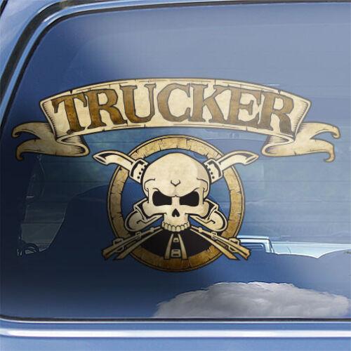 big rig trucking truck drivers skull badge sticker Trucker crossbones decal