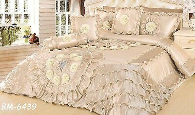 Tache 6 PC Royal Wedding Chamber in Cream Ruffled Satin Quilt Comforter Set