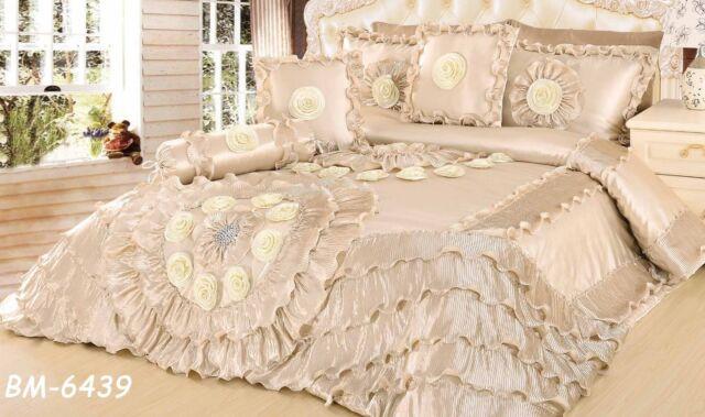 Tache 6 PC Royal Wedding Chamber in Cream Ruffled Satin Quilt Comforter Set