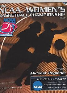 2002 NCAA WOMENS COLLEGE BASKETBALL CHAMPIONSHIP PROGRAM ...