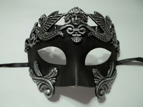 Roman Greek Emperor Men/'s Masquerade Mardi Gras Crystal Mask Silver