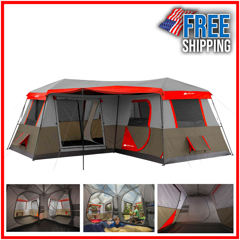 Large 12 Person Waterproof Tent Family Camping Outdoor Ozark Trail 3 Room 16x16