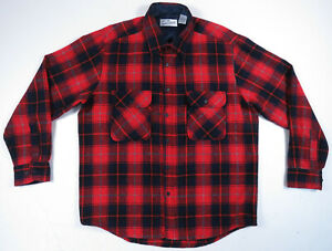 NWOT-Vintage-90s-Sears-Roebuck-Buffalo-Plaid-Wool-Red-Flannel-Long-Sleeve-Shirt