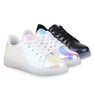 Holo Schuhe Sneaker Metallic Details Zu Plateau Freizeitschuhe Turnschuhe Lack Damen 830102 OXuZiPkT