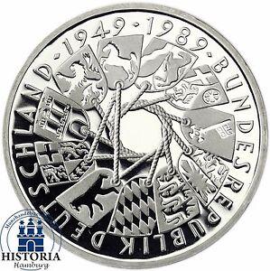 Deutschland 10 Dm 40 Jahre Brd 1989 Silber Spiegelglanz Münze In
