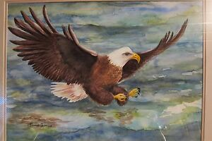 American-Eagle-Original-Watercolor-Painting-17-x-22-Art-USA-by-Roxanne-Tobaison
