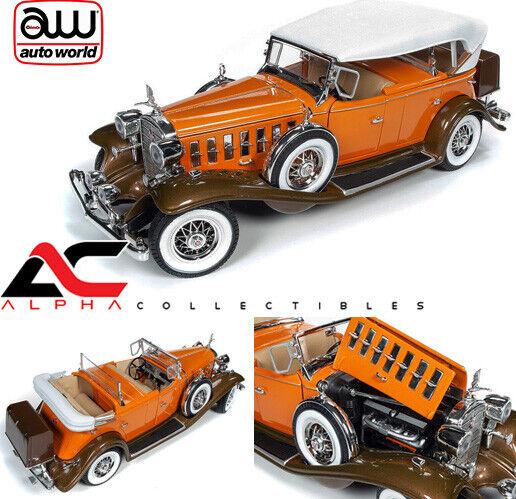 AUTOWORLD AW264 1 18 1932 CADILLAC V16 SPORT PHAETON Orange