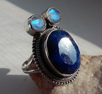 Blue Sapphire & Moonstone REAL 925 Sterling Silver Bead Design Ring - 7.1 g