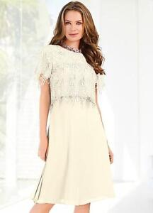 Details About Ivory Two In One Dress With Lace Jacket Two Piece Dress And Jacket Size 10 New