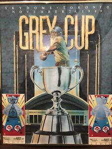 Framed-1989-Grey-Cup-Print-Skydome-Toronto-With-Tickets