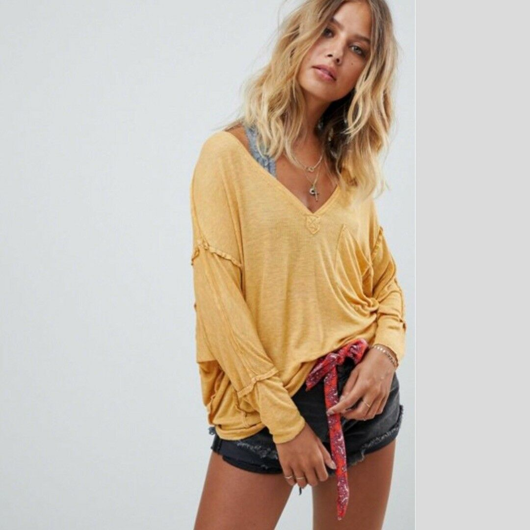 FREE PEOPLE We The Free Golden Gate Tee Mustard Small S  OB807813 NWT New