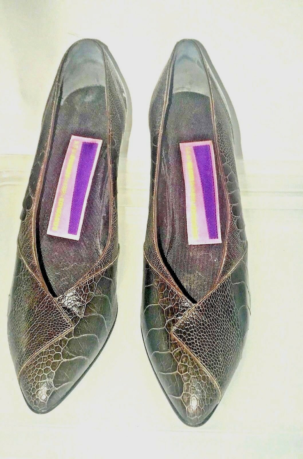 Susan bennis Multi Marrón Cuero Zapatos 8 1 2 2 2 B propietario original se ejecuta pequeño cabe 8 d8b60d