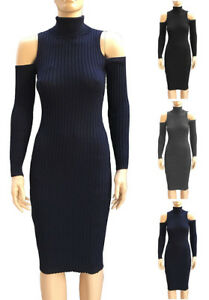 Turtleneck-Cold-Shoulder-Sweater-Dress-S-L