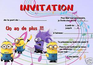 Carte Anniversaire Les Minions.Details Sur 5 Ou 12 Cartes Invitation Anniversaire Les Minions Ref 257