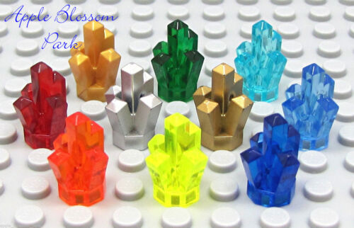 NEW Lego Lot//10 Rock CRYSTALS Red Blue Gold Silver Green Orange Yellow Jewel Set