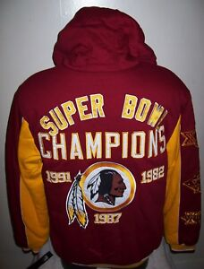 Image is loading WASHINGTON-REDSKINS-3-TIME-SUPER-BOWL-CHAMPIONSHIP-Hooded- f51393507