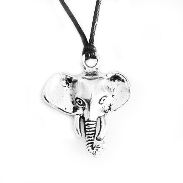 Elephant Charm Pendant Choker Necklace with Black Cord