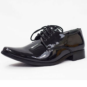 Image Is Loading Boys Black Patent Shoes Wedding Formal