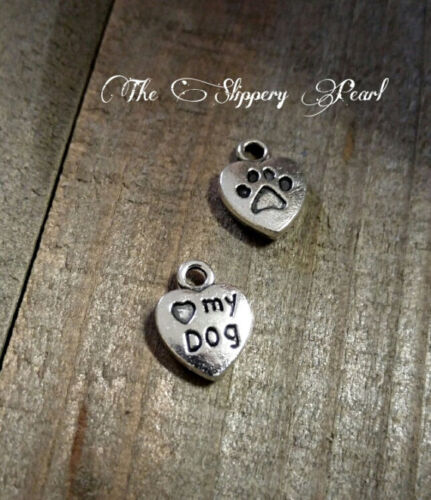 50 BULK Charms Heart Word Charms Word Silver Jewelry Tag Wholesale I Love My Dog